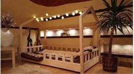 Lit cabane Bella avec barrière 70 x 160cm