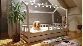 Kinder Bett Hausbett mit Sicherheitbarieren mit einer Schublade Bella